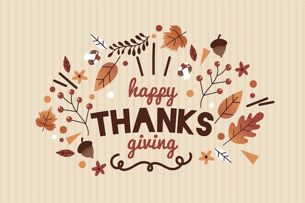 Platte ontwerp thanksgiving achtergrond Gratis Vector