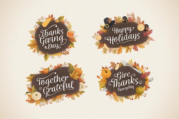 Platte ontwerp thanksgiving badge collectie Gratis Vector