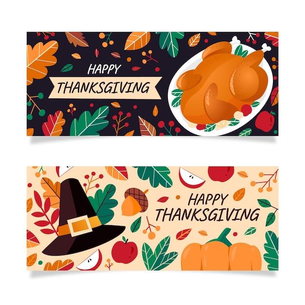 Platte ontwerp thanksgiving banners instellen Premium Vector