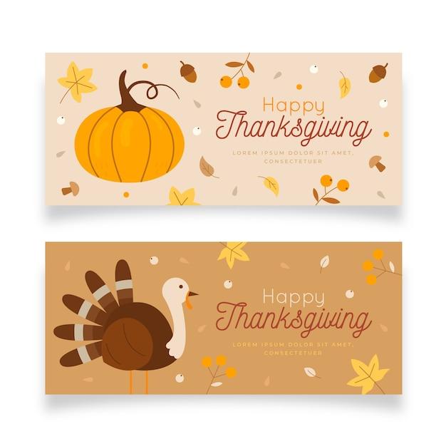 Platte ontwerp thanksgiving banners set Gratis Vector