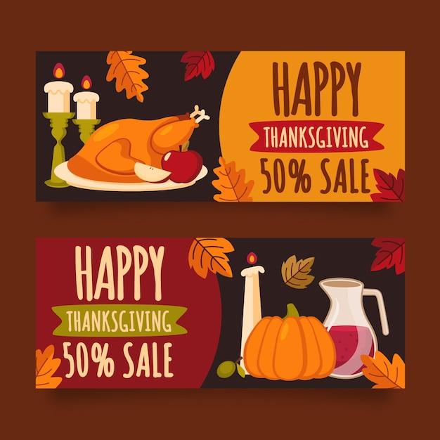 Platte ontwerp thanksgiving banners sjabloon Gratis Vector