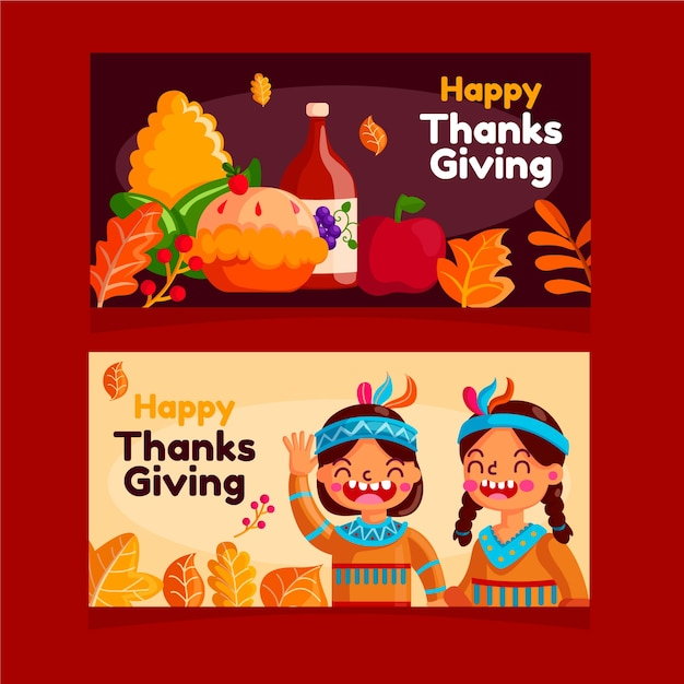 Platte ontwerp thanksgiving banners sjabloon Gratis Vector