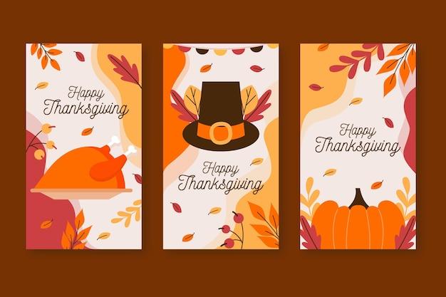 Platte ontwerp thanksgiving instagram verhaalset Gratis Vector