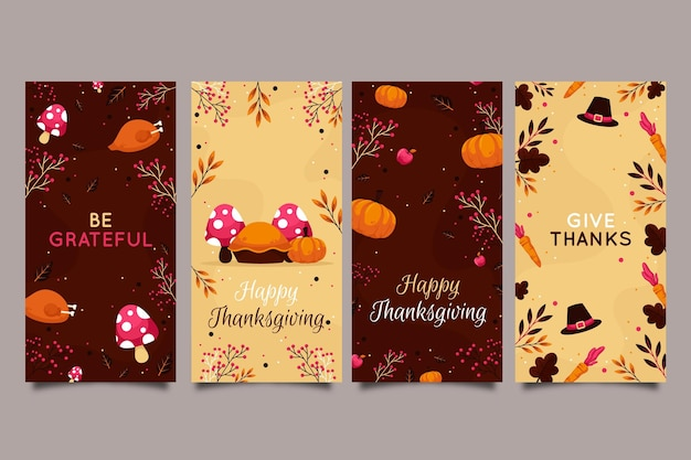 Platte ontwerp thanksgiving instagram verhalencollectie Gratis Vector