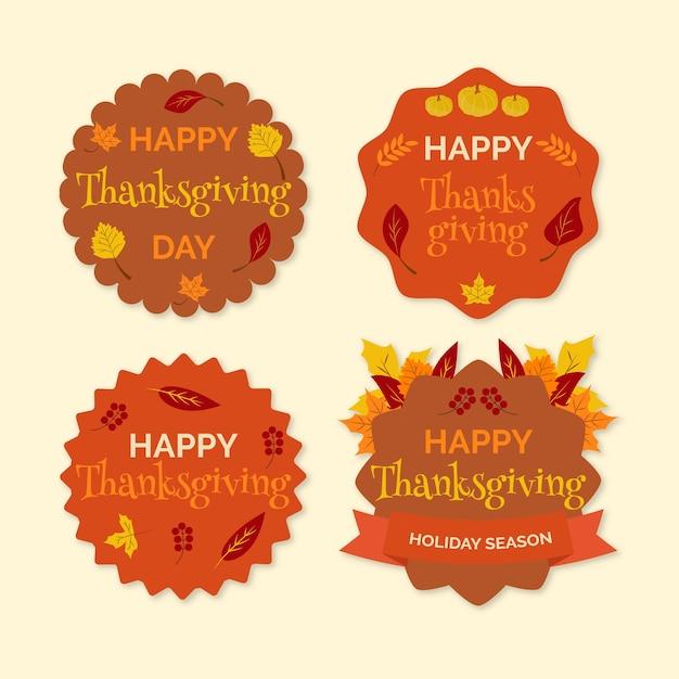 Platte ontwerp thanksgiving label / badge collectie Gratis Vector