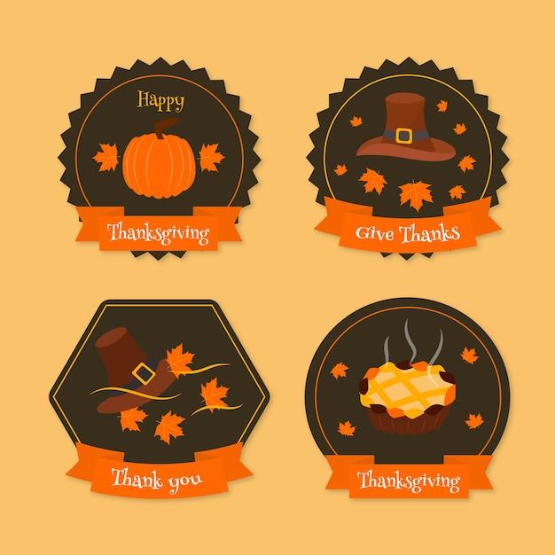Platte ontwerp thanksgiving label / badge pack Gratis Vector