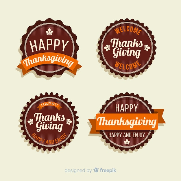 Platte ontwerp thanksgiving label collectie Gratis Vector