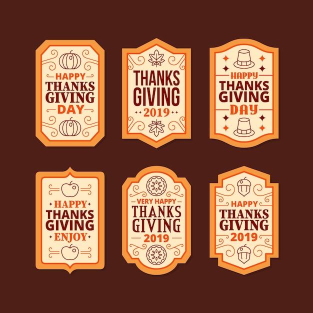 Platte ontwerp thanksgiving label collectie Gratis Vector