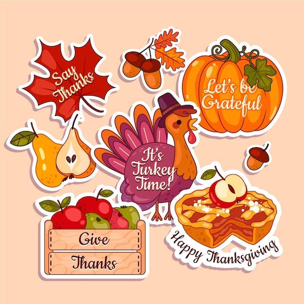 Platte ontwerp thanksgiving labelcollectie Gratis Vector