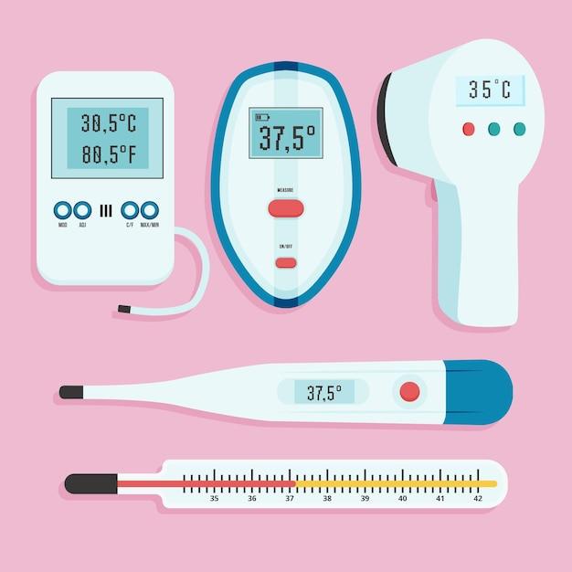 Platte ontwerp thermometer typen collectie Gratis Vector