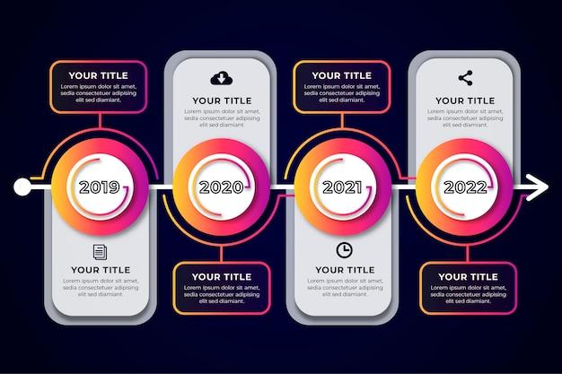 Platte ontwerp tijdlijn infographic Gratis Vector