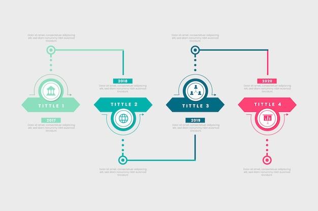 Platte ontwerp tijdlijn sjabloon infographic Gratis Vector