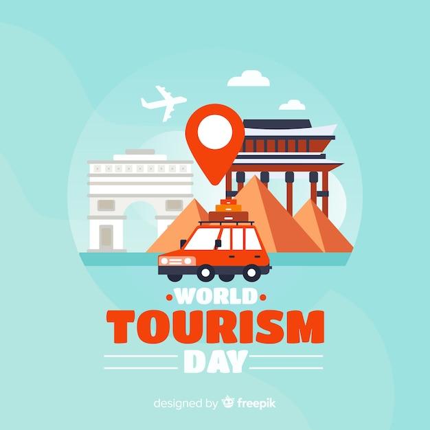 Platte ontwerp toerisme dag achtergrond Gratis Vector