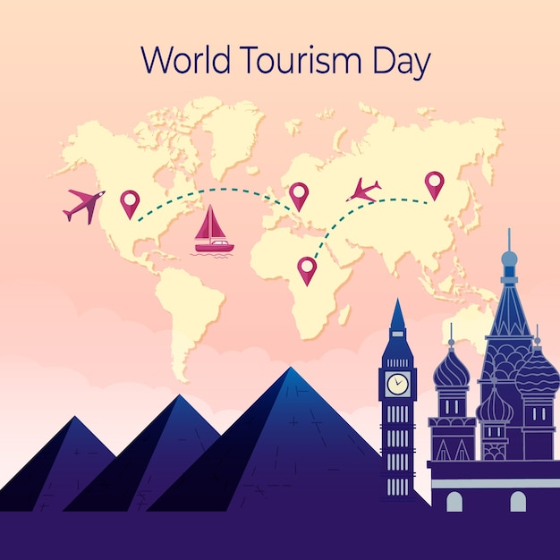 Platte ontwerp toeristische dag met bezienswaardigheden Gratis Vector