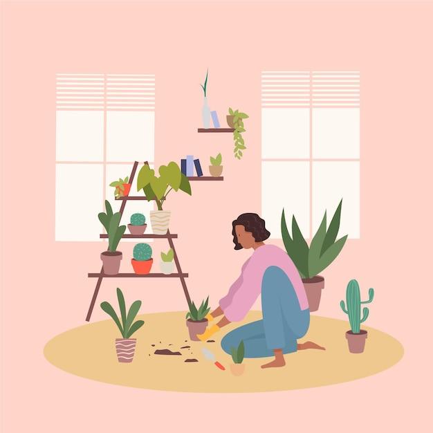 Platte ontwerp tuinieren thuis concept met vrouw Gratis Vector