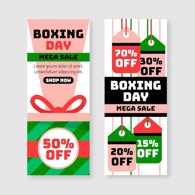 Platte ontwerp tweede kerstdag verkoop banners sjabloon Gratis Vector