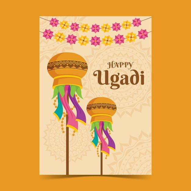 Platte ontwerp ugadi poster Gratis Vector