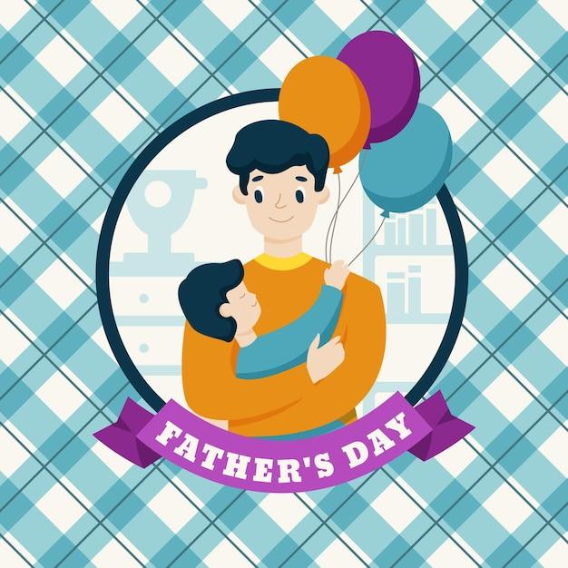 Platte ontwerp vaderdag achtergrond met vader en zoon Gratis Vector