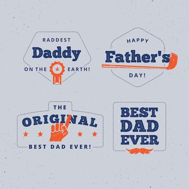 Platte ontwerp vaderdag badges Gratis Vector
