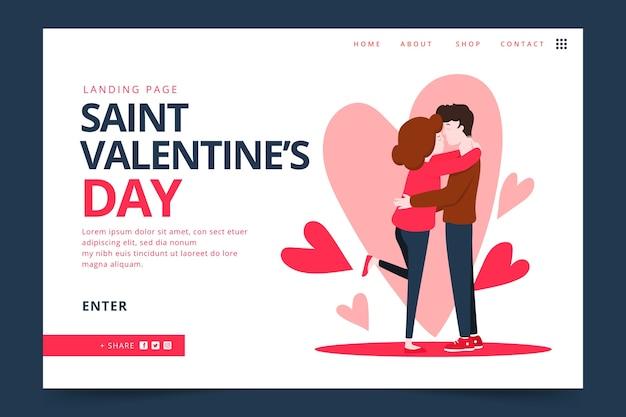 Platte ontwerp valentijnsdag bestemmingspagina Gratis Vector