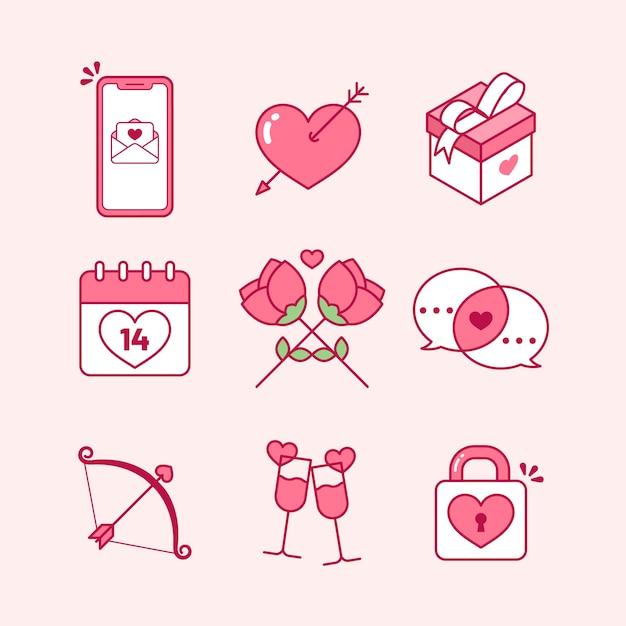 Platte ontwerp valentijnsdag element collectie Gratis Vector