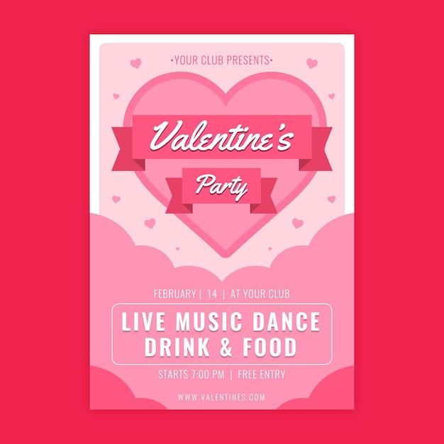 Platte ontwerp valentijnsdag flyer Gratis Vector
