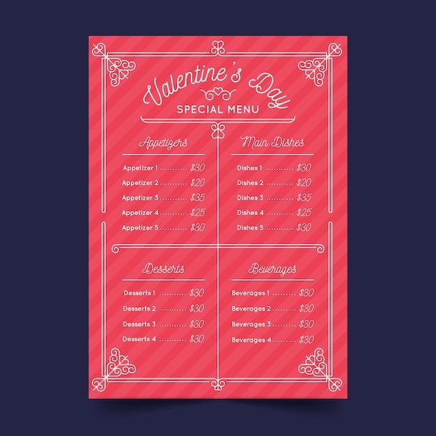 Platte ontwerp valentijnsdag menu sjabloon concept Gratis Vector