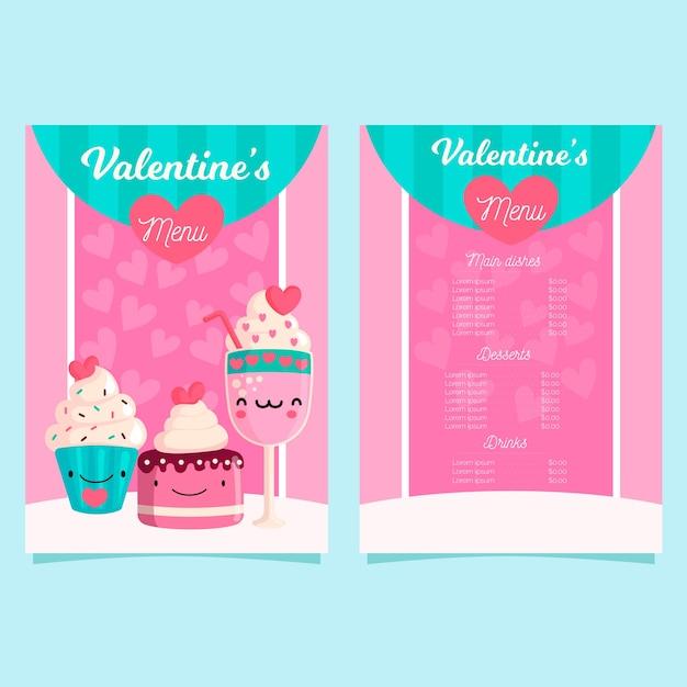 Platte ontwerp valentijnsdag menusjabloon Gratis Vector