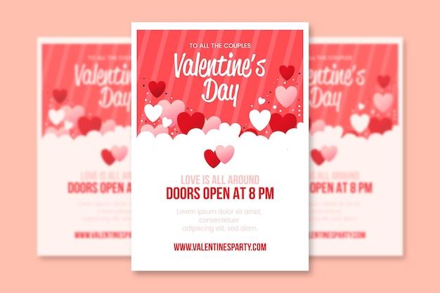 Platte ontwerp valentijnsdag partij flyer Gratis Vector