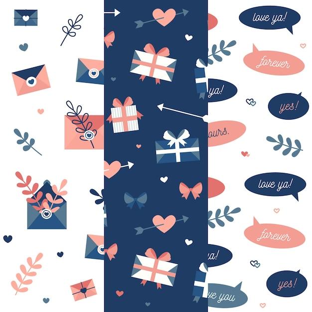 Platte ontwerp valentijnsdag patroon collectie Gratis Vector