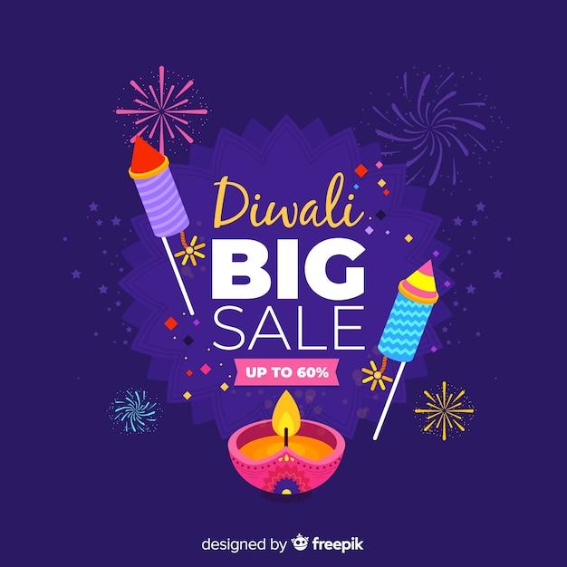 Platte ontwerp van blauwe diwali verkoop Gratis Vector