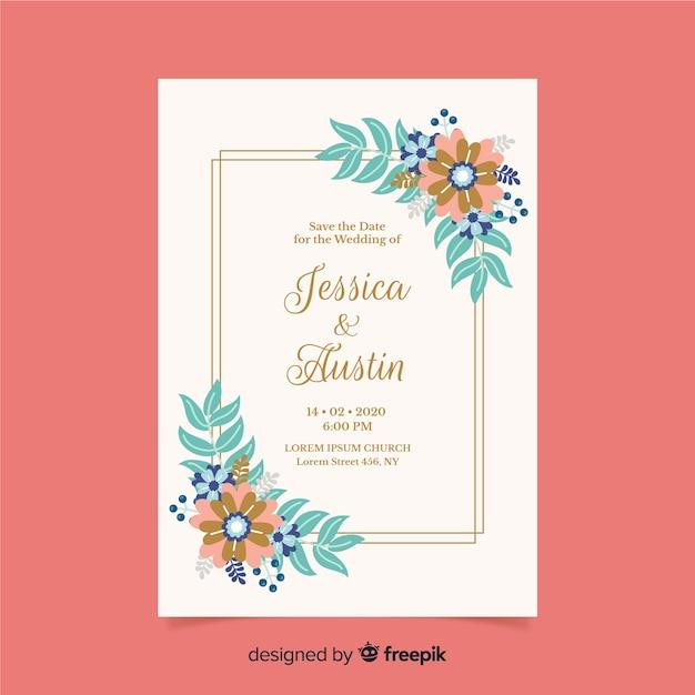 Platte ontwerp van bloemen bruiloft uitnodiging sjabloon Gratis Vector