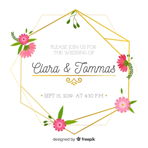 Platte ontwerp van bloemen frame bruiloft uitnodiging Gratis Vector