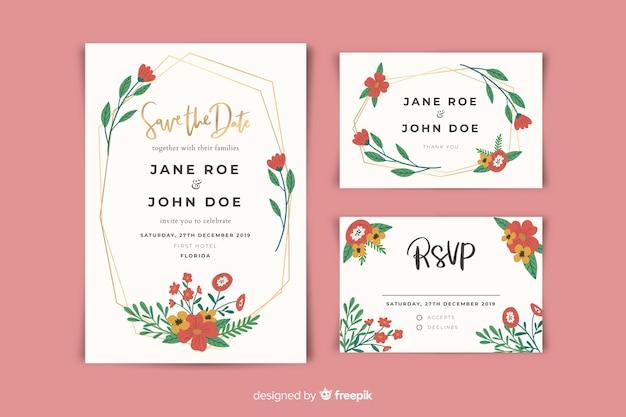 Platte ontwerp van bruiloft briefpapier sjabloon Gratis Vector