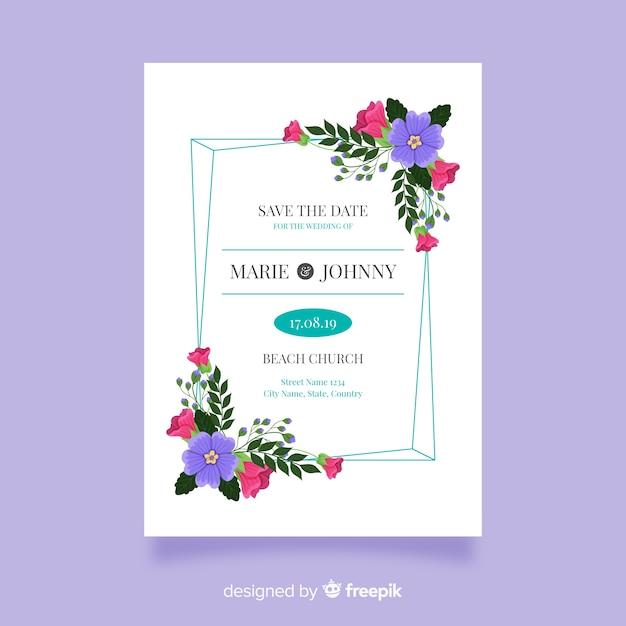 Platte ontwerp van bruiloft uitnodiging sjabloon Gratis Vector