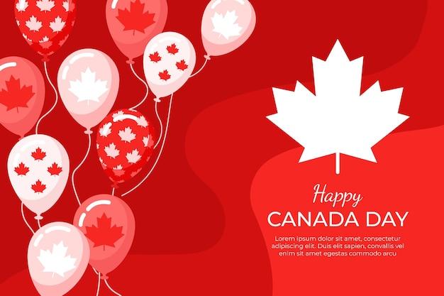 Platte ontwerp van canada dag ballonnen achtergrond Gratis Vector