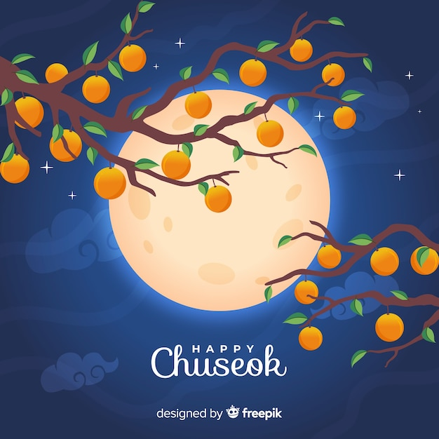 Platte ontwerp van chuseok volle maan Gratis Vector
