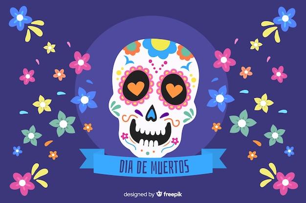 Platte ontwerp van dia de muertos achtergrond Gratis Vector