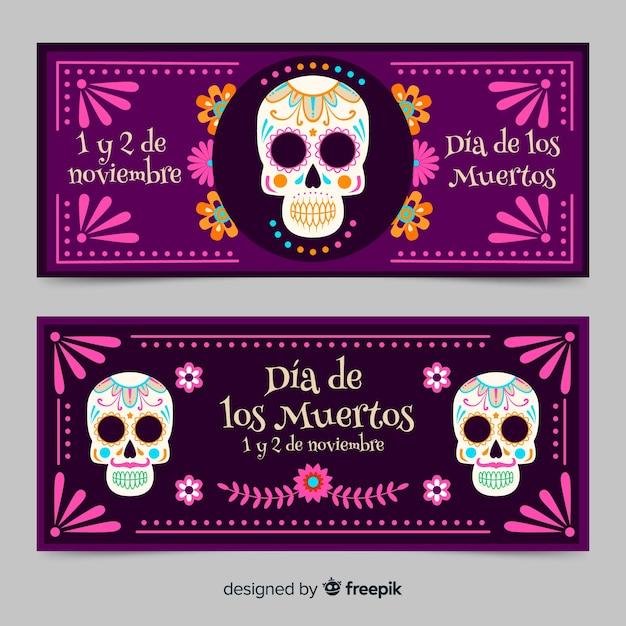 Platte ontwerp van dia de muertos banners Gratis Vector