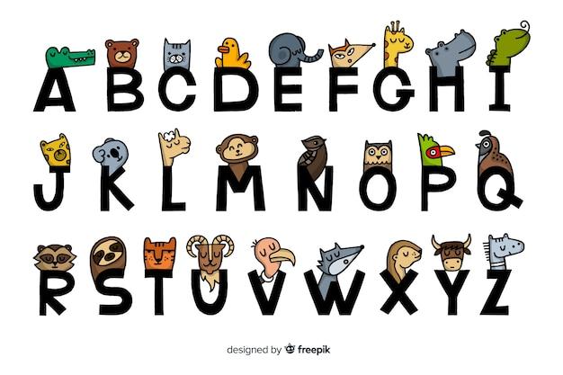 Platte ontwerp van dieren alfabet Gratis Vector