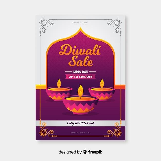 Platte ontwerp van diwali verkoop folder sjabloon Gratis Vector
