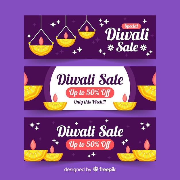 Platte ontwerp van diwali webbanners Gratis Vector