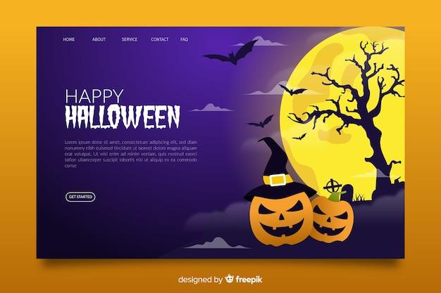 Platte ontwerp van halloween bestemmingspagina Gratis Vector