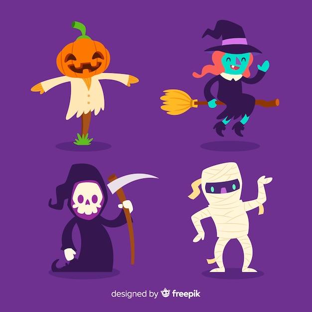 Platte ontwerp van halloween character collection Gratis Vector