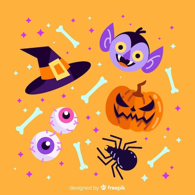 Platte ontwerp van halloween element collectie Gratis Vector