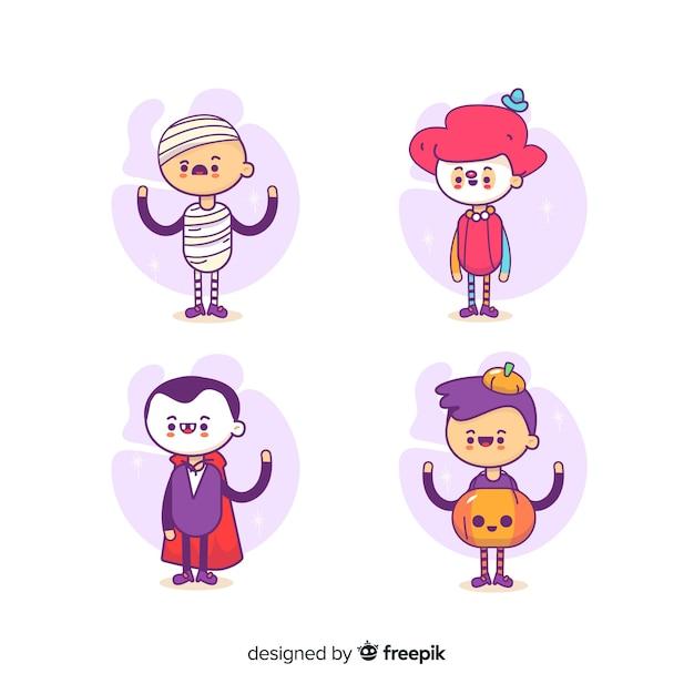 Platte ontwerp van halloween kind collectie Gratis Vector