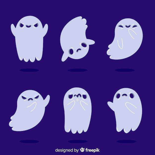 Platte ontwerp van halloween kind ghost collection Gratis Vector