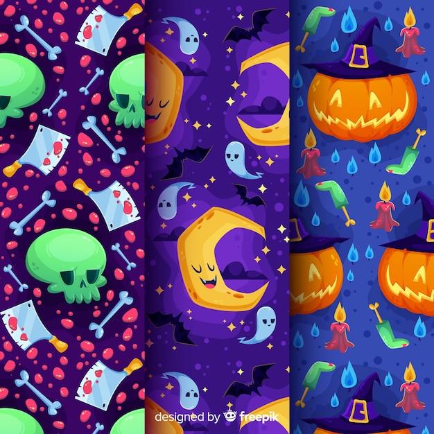 Platte ontwerp van halloween patroon collectie Gratis Vector