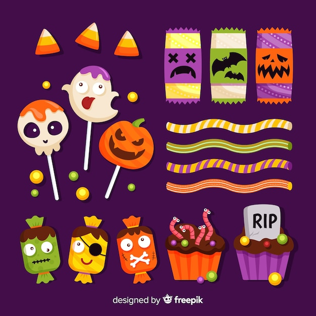Platte ontwerp van halloween snoep collectie Gratis Vector