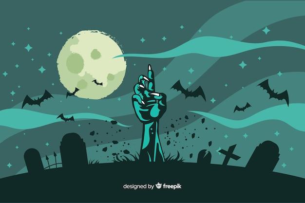 Platte ontwerp van halloween zombie hand achtergrond Premium Vector
